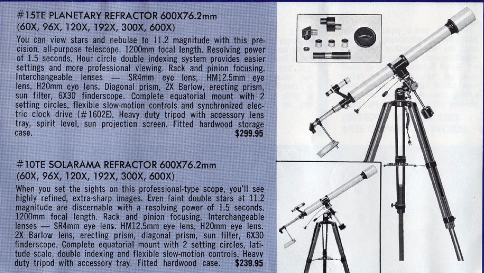 From the 1968 Tasco catalog, showing the 60 mm #7TE for $149.95